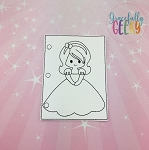 Princess 8 quiet book coloring page ITH embroidery design 5x7 hoop